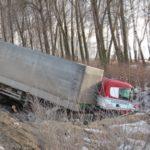 semi truck drove down ditch Queener Law
