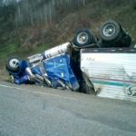 totaled semi truck rollover accident Queener Law